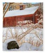 Vintage New England Barn Portrait Square Fleece Blanket