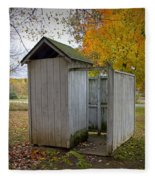 Vintage Outhouse Alongside A Historical Country School In Southwest Michigan Fleece Blanket