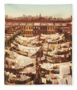 Vintage Photo Of Washing Day In New York City 1900 Fleece Blanket