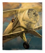 Vintage Plane In Flight Fleece Blanket