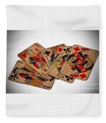 Vintage Playing Cards Art Prints Fleece Blanket