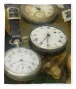 Vintage Pocket Watches Fleece Blanket