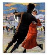 Vintage Poster Couples Skating At Christmas On Frozen Pond Fleece Blanket