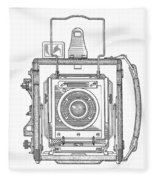 Vintage Press Camera Patent Drawing Fleece Blanket
