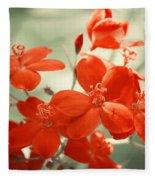 Vintage Red Flowers Fleece Blanket