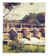 Vintage River Dam Fleece Blanket