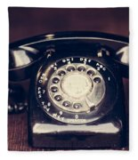 Vintage Rotary Phone Fleece Blanket