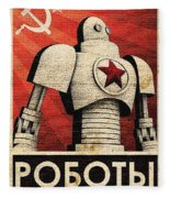 Vintage Russian Robot Poster Fleece Blanket