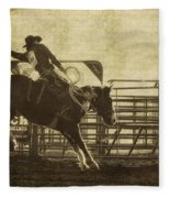 Vintage Saddle Bronc Riding Fleece Blanket