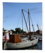 Vintage Sailing Boat - Ct Fleece Blanket