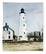Vintage Sandy Hook Lighthouse Fleece Blanket