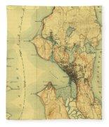 Vintage Seattle Map Fleece Blanket