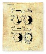 Vintage Self-winding Watch Movement Patent Fleece Blanket