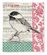 Vintage Songbird 3 Fleece Blanket