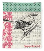 Vintage Songbird 4 Fleece Blanket