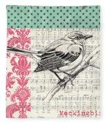Vintage Songbird 4 Fleece Blanket