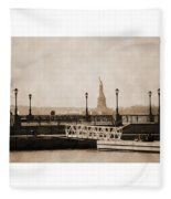 Vintage Statue Of Liberty View Fleece Blanket