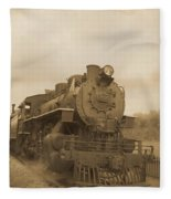 Vintage Steam Locomotive Fleece Blanket