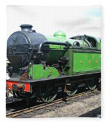 Vintage Steam Train In Green  Fleece Blanket