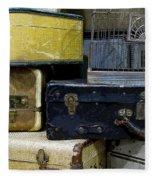 Vintage Suitcase Fleece Blanket
