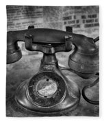 Vintage Telephone In Black And White  Fleece Blanket