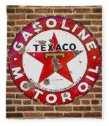 Vintage Texaco Gasoline Sign Dsc07195 Fleece Blanket
