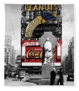 Vintage Times Square 1 Fleece Blanket