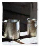 Vintage Tin Cups Fleece Blanket