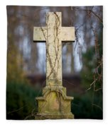 Vintage Tombstone Cross Fleece Blanket