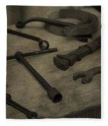 Vintage Tools Fleece Blanket