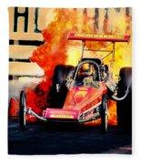 Vintage Top Fuel Dragster Fire Burnout-wild Bill Carter Fleece Blanket