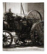 Vintage Tractor Drawing In Industrialised 1900s Fleece Blanket