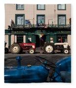 Vintage Tractors Lined Fleece Blanket
