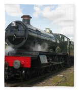 Vintage Train Black Steam Engine Fleece Blanket