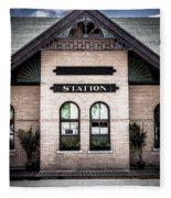 Vintage Train Station Fleece Blanket