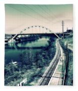 Vintage Train Tracks In Nashville Fleece Blanket