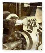Vintage Train Wheel Fleece Blanket