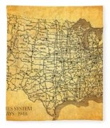 Vintage United States Highway System Map On Worn Canvas Fleece Blanket