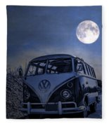 Vintage Vw Bus Parked At The Beach Under The Moonlight Fleece Blanket