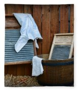 Vintage Washboard Laundry Day Fleece Blanket
