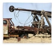 Vintage Water Well Drilling Truck Fleece Blanket