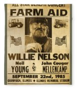 Vintage Willie Nelson 1985 Farm Aid Poster Fleece Blanket