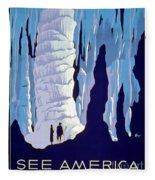 Vintage Wpa Poster See America Fleece Blanket