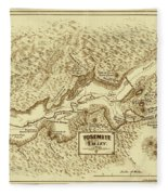 Vintage Yosemite Map 1870 Fleece Blanket