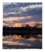 Violet Twilight On The Lake Fleece Blanket