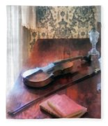 Violin On Credenza Fleece Blanket