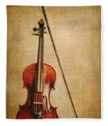 Violin With Bow Fleece Blanket
