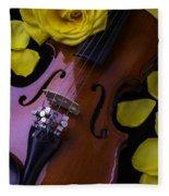 Violin With Yellow Rose Fleece Blanket