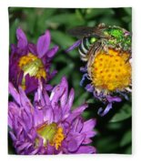 Virescent Metallic Green Bee Fleece Blanket