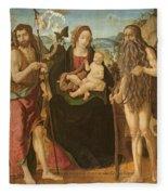 Virgin And Child Between St. John Fleece Blanket